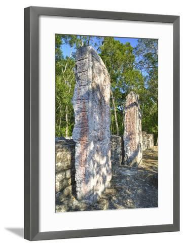 Stela 24 on Right, and Stela 23 on Left, on Top of Structure Vi-Richard Maschmeyer-Framed Art Print