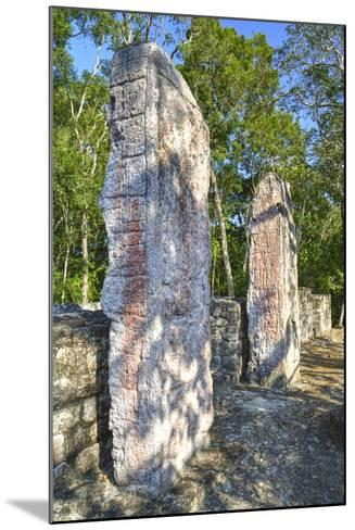 Stela 24 on Right, and Stela 23 on Left, on Top of Structure Vi-Richard Maschmeyer-Mounted Photographic Print
