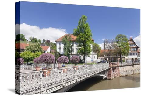 View over Wehrneckarkanal Chanel to Schwoerhaus House-Markus Lange-Stretched Canvas Print