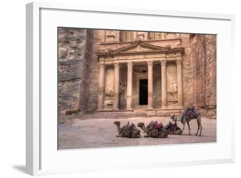 Camels in Front of the Treasury, Petra, Jordan, Middle East-Richard Maschmeyer-Framed Art Print