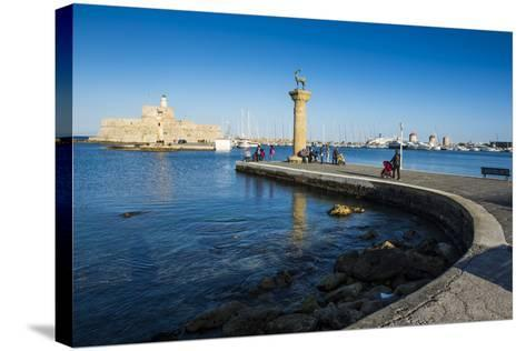 The Old Agios Nikolaos Fortress, Mandraki Harbour, Rhodes Town, Dodecanese Islands, Greek Islands-Michael Runkel-Stretched Canvas Print