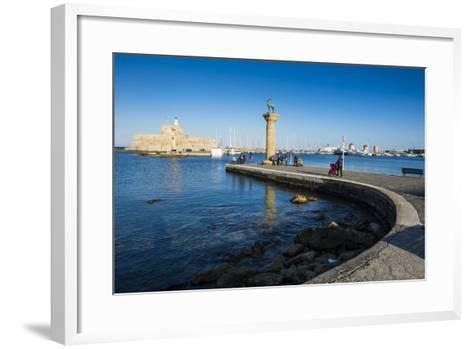 The Old Agios Nikolaos Fortress, Mandraki Harbour, Rhodes Town, Dodecanese Islands, Greek Islands-Michael Runkel-Framed Art Print