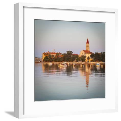 Cathedral of St. Lawrence Illuminated at Sunrise, Stari Grad (Old Town), Trogir, Dalmatia, Croatia-Doug Pearson-Framed Art Print
