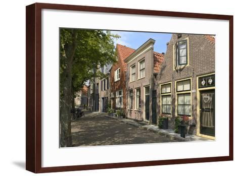 Street of Uniquely Individual Dutch Houses, Zuider Havendijk, Enkhuizen, North Holland, Netherlands-Peter Richardson-Framed Art Print
