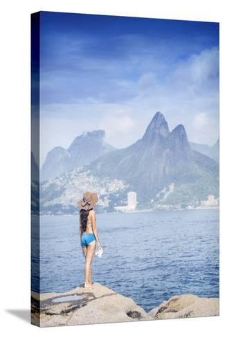 A 20-25 Year Old Young Brazilian Woman Standing on the Arpoador Rocks-Alex Robinson-Stretched Canvas Print