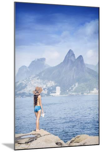 A 20-25 Year Old Young Brazilian Woman Standing on the Arpoador Rocks-Alex Robinson-Mounted Photographic Print