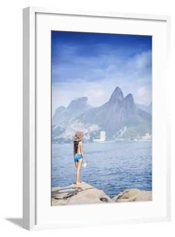 A 20-25 Year Old Young Brazilian Woman Standing on the Arpoador Rocks-Alex Robinson-Framed Art Print
