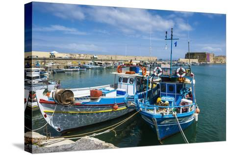 Fishing Boats in the Old Harbour of Heraklion, Crete, Greek Islands, Greece-Michael Runkel-Stretched Canvas Print