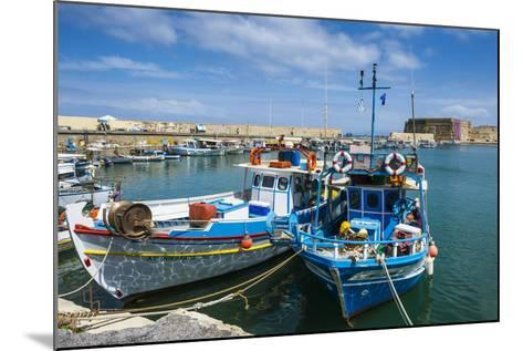 Fishing Boats in the Old Harbour of Heraklion, Crete, Greek Islands, Greece-Michael Runkel-Mounted Photographic Print