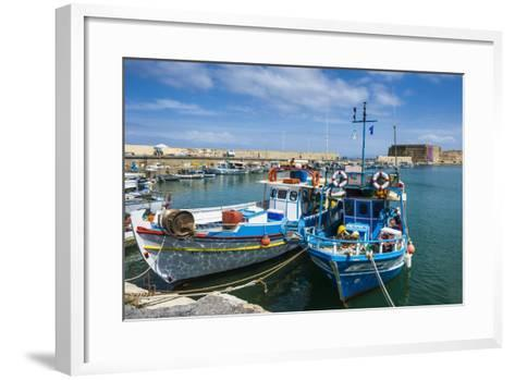 Fishing Boats in the Old Harbour of Heraklion, Crete, Greek Islands, Greece-Michael Runkel-Framed Art Print