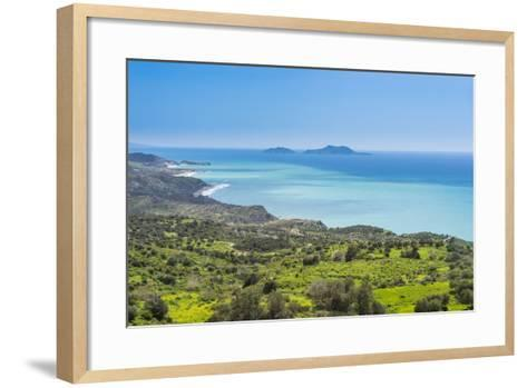 View over the South Coast of Crete with its Turquoise Waters, Crete, Greek Islands, Greece, Europe-Michael Runkel-Framed Art Print