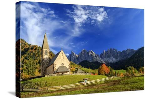 Church of St. Magdalena Immersed in the Colors of Autumn-Roberto Moiola-Stretched Canvas Print