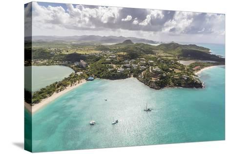 Aerial View of Sailboats Moored from the Coast of Antigua, Leeward Islands, West Indies-Roberto Moiola-Stretched Canvas Print