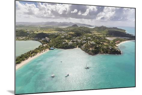 Aerial View of Sailboats Moored from the Coast of Antigua, Leeward Islands, West Indies-Roberto Moiola-Mounted Photographic Print