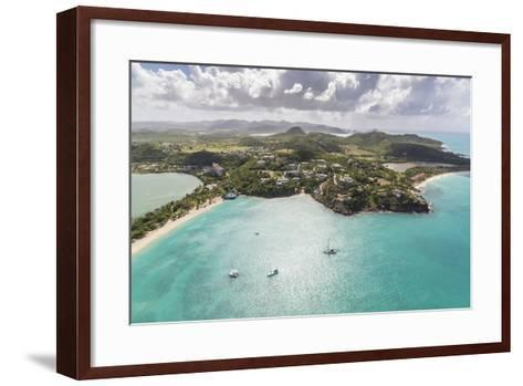 Aerial View of Sailboats Moored from the Coast of Antigua, Leeward Islands, West Indies-Roberto Moiola-Framed Art Print