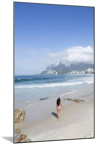 A 20-25 Year Old Young Brazilian Woman on Ipanema Beach with the Morro Dois Irmaos Hills-Alex Robinson-Mounted Photographic Print