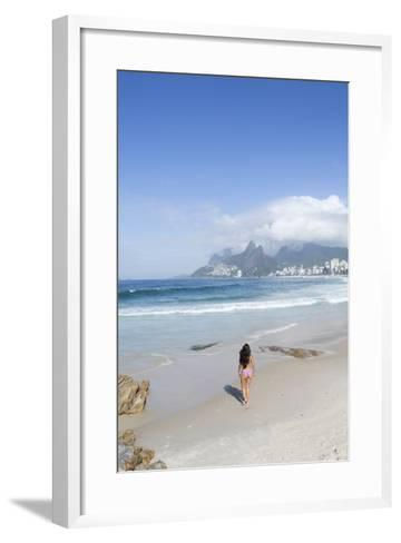 A 20-25 Year Old Young Brazilian Woman on Ipanema Beach with the Morro Dois Irmaos Hills-Alex Robinson-Framed Art Print