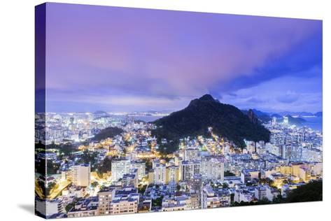 Twilight, Illuminated View of Copacabana, the Morro De Sao Joao-Alex Robinson-Stretched Canvas Print