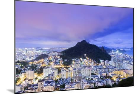 Twilight, Illuminated View of Copacabana, the Morro De Sao Joao-Alex Robinson-Mounted Photographic Print