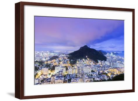 Twilight, Illuminated View of Copacabana, the Morro De Sao Joao-Alex Robinson-Framed Art Print