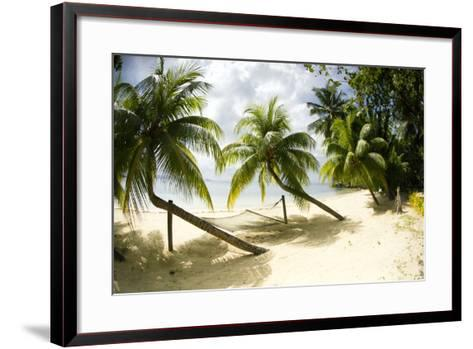 Tropical Island Beach with Hammock at Matangi Island Resort, Vanua Levu, Fiji, Pacific-Louise Murray-Framed Art Print