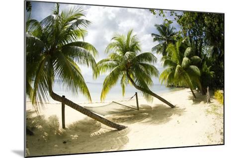 Tropical Island Beach with Hammock at Matangi Island Resort, Vanua Levu, Fiji, Pacific-Louise Murray-Mounted Photographic Print