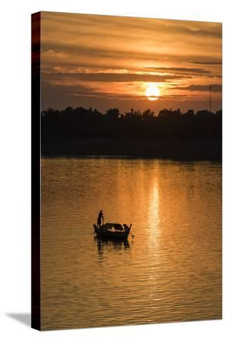 Sunrise on the Tonle Sap River Near the Village of Kampong Tralach, Cambodia, Indochina-Michael Nolan-Stretched Canvas Print