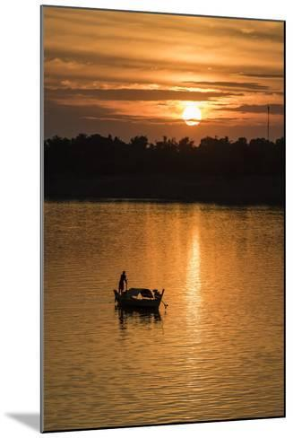 Sunrise on the Tonle Sap River Near the Village of Kampong Tralach, Cambodia, Indochina-Michael Nolan-Mounted Photographic Print