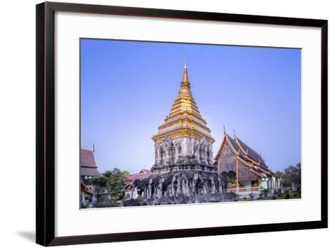 Elephant Sculptures on the Chedi Chang Lom and the Main Bot at the Temple of Wat Chiang Man-Alex Robinson-Framed Art Print