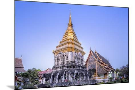 Elephant Sculptures on the Chedi Chang Lom and the Main Bot at the Temple of Wat Chiang Man-Alex Robinson-Mounted Photographic Print