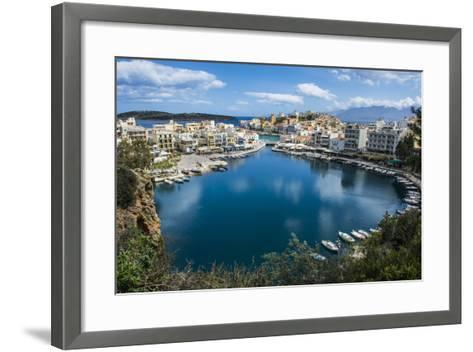 View over Lake Voulismeni, Agios Nikolaos, Crete, Greek Islands, Greece-Michael Runkel-Framed Art Print