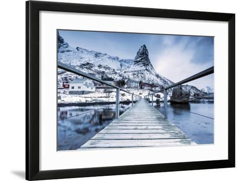 A Bridge over the Cold Sea Connects a Typical Fishing Village. Reine-Roberto Moiola-Framed Art Print
