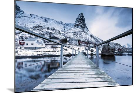A Bridge over the Cold Sea Connects a Typical Fishing Village. Reine-Roberto Moiola-Mounted Photographic Print