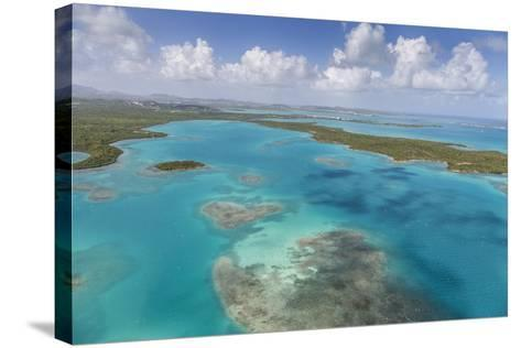 Aerial View of Sections of Reef Scattered Along the Rugged Coastline of Antigua-Roberto Moiola-Stretched Canvas Print