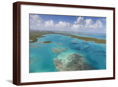 Aerial View of Sections of Reef Scattered Along the Rugged Coastline of Antigua-Roberto Moiola-Framed Art Print
