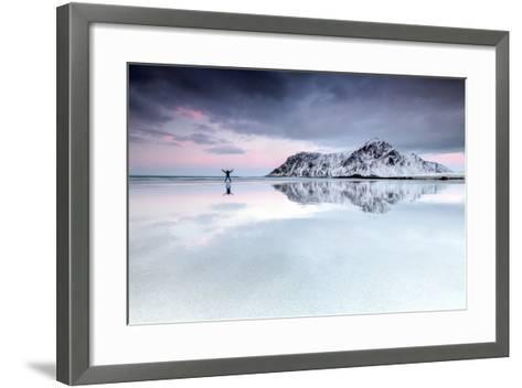 Sunset and Hiker on Skagsanden Beach Surrounded by Snow Covered Mountains-Roberto Moiola-Framed Art Print