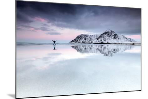 Sunset and Hiker on Skagsanden Beach Surrounded by Snow Covered Mountains-Roberto Moiola-Mounted Photographic Print