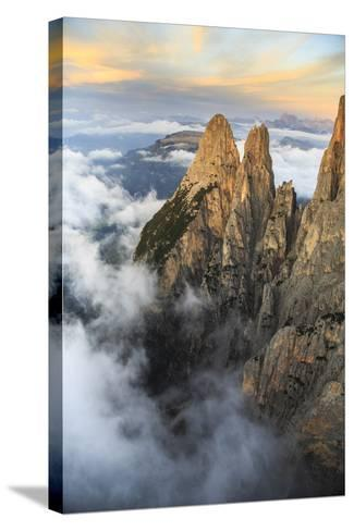Aerial View of Santner Peak at Sunset-Roberto Moiola-Stretched Canvas Print