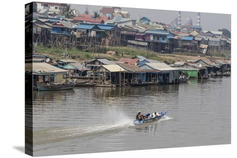 View of Life Along the Tonle Sap River Headed Towards Phnom Penh, Cambodia, Indochina-Michael Nolan-Stretched Canvas Print