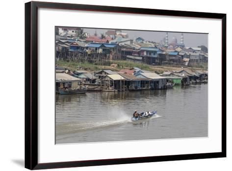 View of Life Along the Tonle Sap River Headed Towards Phnom Penh, Cambodia, Indochina-Michael Nolan-Framed Art Print