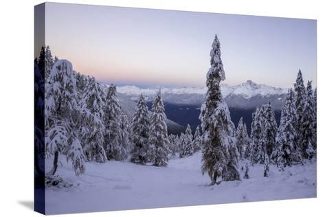 The Autumn Snowy Landscape, Casera Lake, Livrio Valley, Orobie Alps, Valtellina, Lombardy, Italy-Roberto Moiola-Stretched Canvas Print