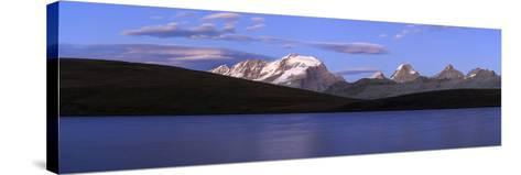 Panorama of the Gran Paradiso Range at Sunset from Lake Rossett-Roberto Moiola-Stretched Canvas Print