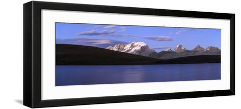 Panorama of the Gran Paradiso Range at Sunset from Lake Rossett-Roberto Moiola-Framed Art Print