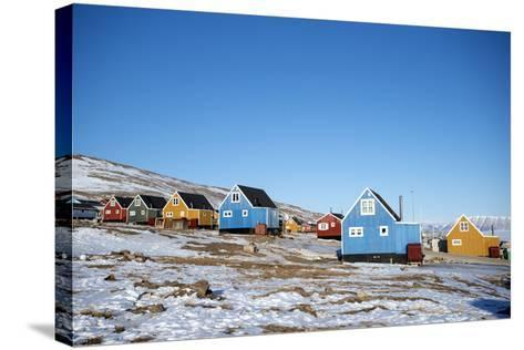 Colourful Wooden Houses in the Village of Qaanaaq-Louise Murray-Stretched Canvas Print