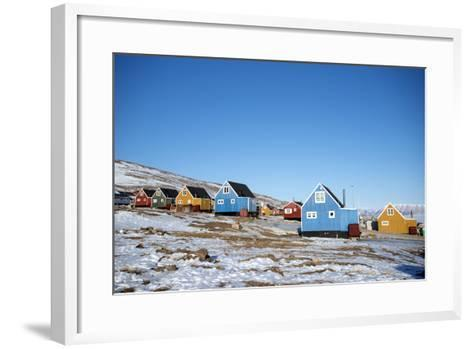Colourful Wooden Houses in the Village of Qaanaaq-Louise Murray-Framed Art Print