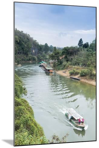 A Boat on the River Kwai with the Pow-Built Wampoo Viaduct Behind-Alex Robinson-Mounted Photographic Print