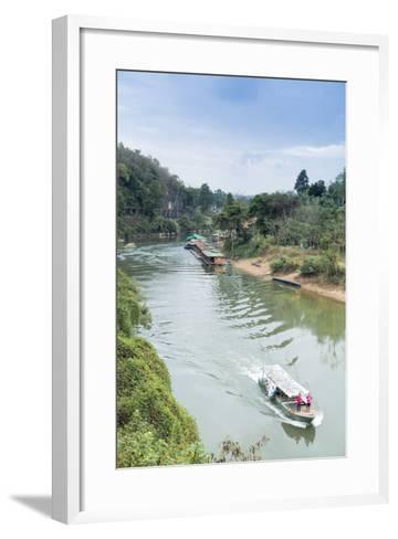 A Boat on the River Kwai with the Pow-Built Wampoo Viaduct Behind-Alex Robinson-Framed Art Print