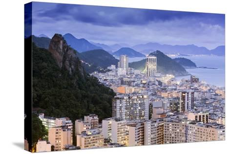 Twilight, Illuminated View of Copacabana, the Morro De Sao Joao and the Atlantic Coast of Rio-Alex Robinson-Stretched Canvas Print