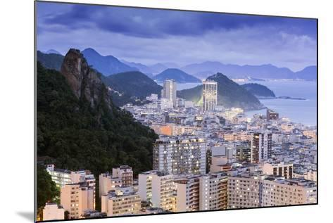 Twilight, Illuminated View of Copacabana, the Morro De Sao Joao and the Atlantic Coast of Rio-Alex Robinson-Mounted Photographic Print