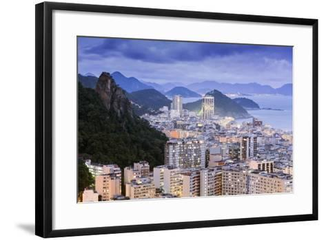 Twilight, Illuminated View of Copacabana, the Morro De Sao Joao and the Atlantic Coast of Rio-Alex Robinson-Framed Art Print
